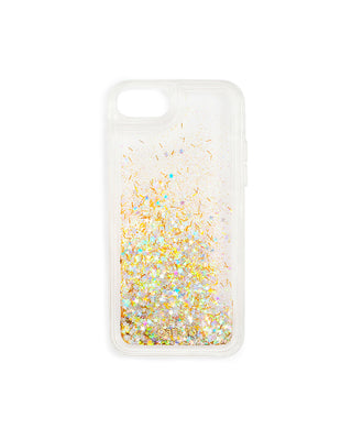 Clear iPhone case filled with gold glitter and metallic stars
