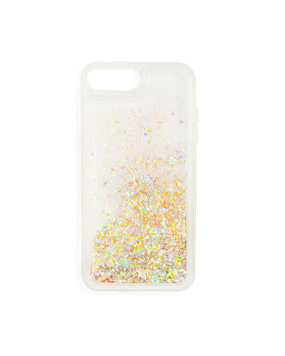 Clear iPhone case filled with metallic glitter