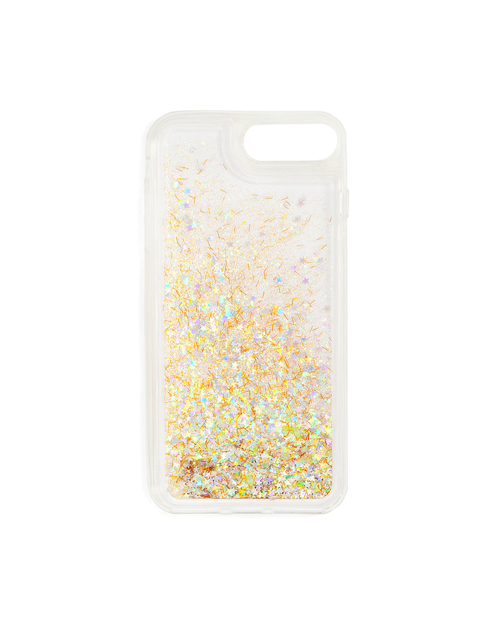 Interior view of clear iPhone case filled with metallic glitter