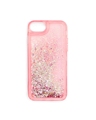 Pink translucent iPhone case filled with multicolored metallic glitter