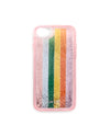 clear pink iphone case with rainbow stripes, filled with glitter