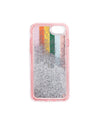 interior view of silver glitter in the pink and rainbow stripe clear plastic iphone case