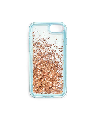 glitter bomb iphone case - ice blue/copper