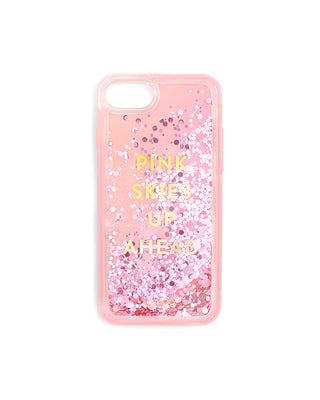 "Pink iPhone case with lilac circle glitter that reads ""PINK SKIES UP AHEAD"""