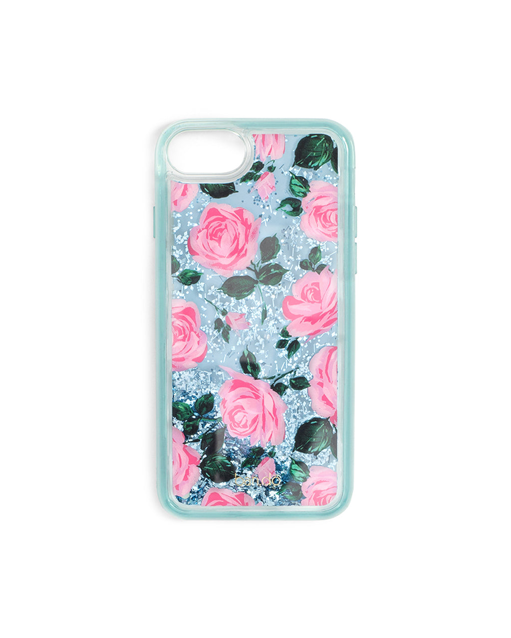 light blue iphone case with illustrated roses, filled with glitter