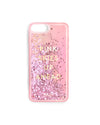 "Pink iPhone case that reads ""PINK SKIES UP AHEAD"", filled with metallic glitter"
