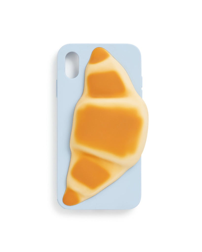 Light blue XR iPhone case with 3D croissant drip mold design