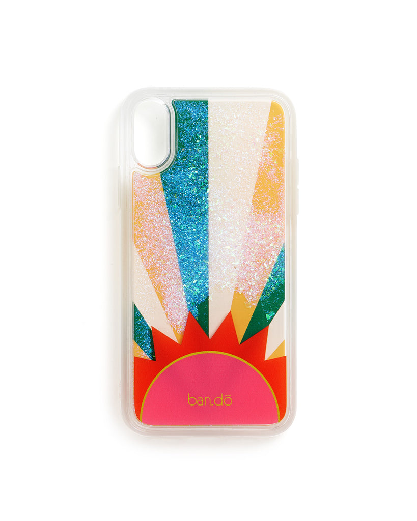 glitter floating in a plastic iphone case with a printed sunburst illustration