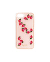 This Floating Icons iPhone Case comes in pink, with plastic strawberries floating inside.