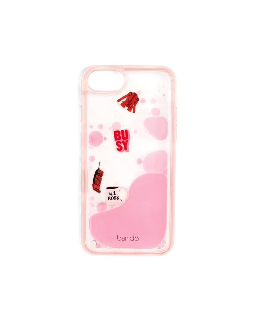 This Floating Icons iPhone Case comes in translucent pink, with plastic Working Girl icons floating inside.