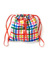 This drawstring backpack comes in a rainbow plaid pattern.