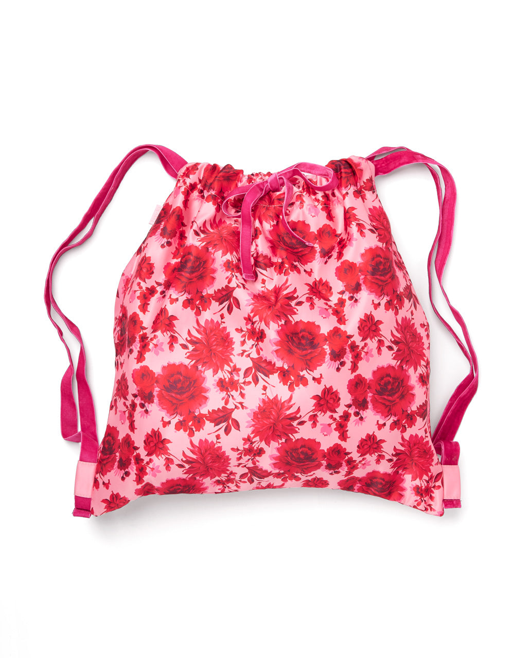 Satin drawstring backpack in a pink floral motif and velvet drawstrings.