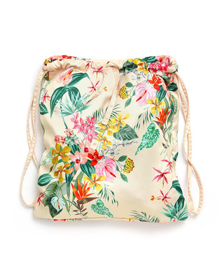This drawstring backpack comes in a colorful floral pattern designed by Helen Dealtry.