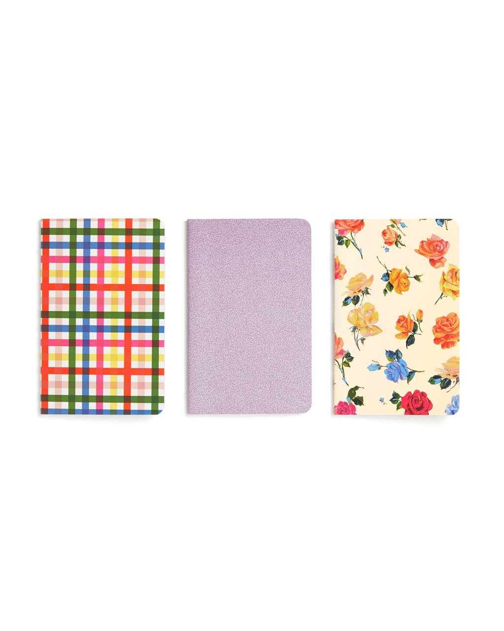 This notebook set includes three unique styles: rainbow plaid, glitter pink, and bright floral.