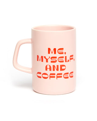 Large ceramic pink mug with red graphic Me, Myself, and Coffee.