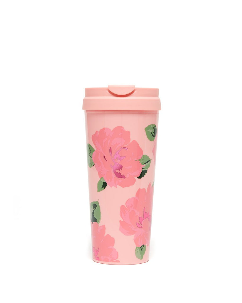 This Hot Stuff Thermal Mug comes in pink, with with a colorful floral pattern by Helen Dealtry printed on the outside.