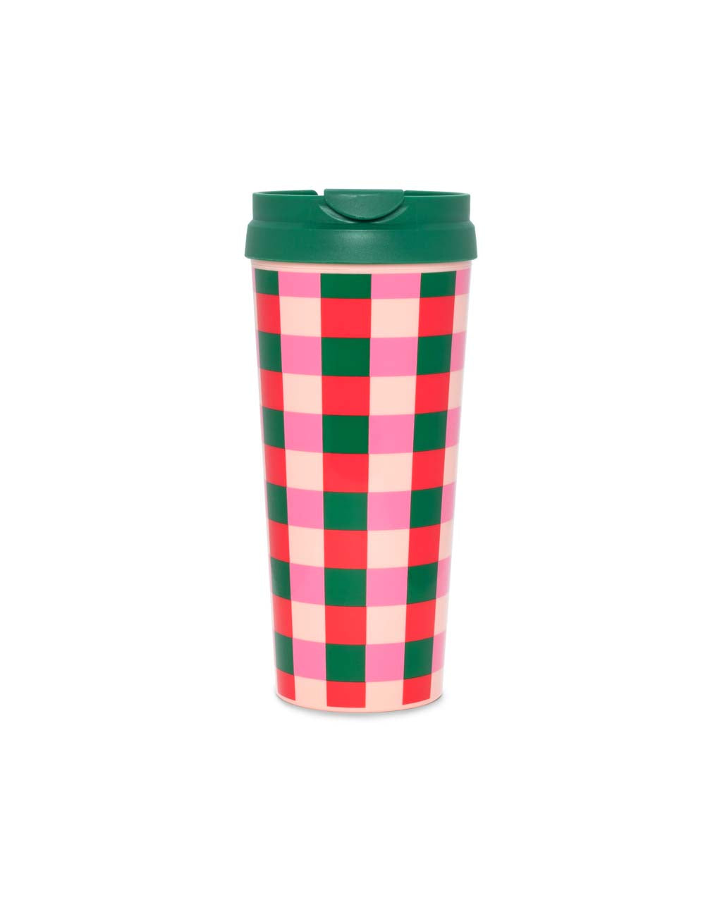 Pink and green plaid insulated thermal mug with a green lid.