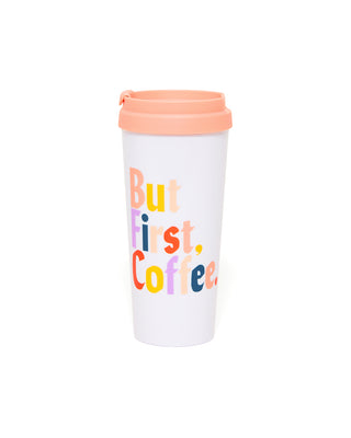 This Hot Stuff Thermal Mug comes in white, with 'But First, Coffee' printed in rainbow colors on the side.