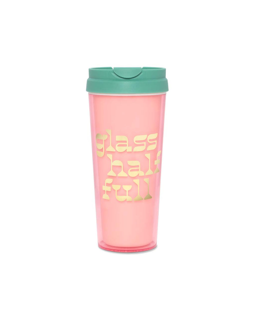 "Pink insulated thermal mug with a gold foil graphic ""glass half full"" and a green lid."