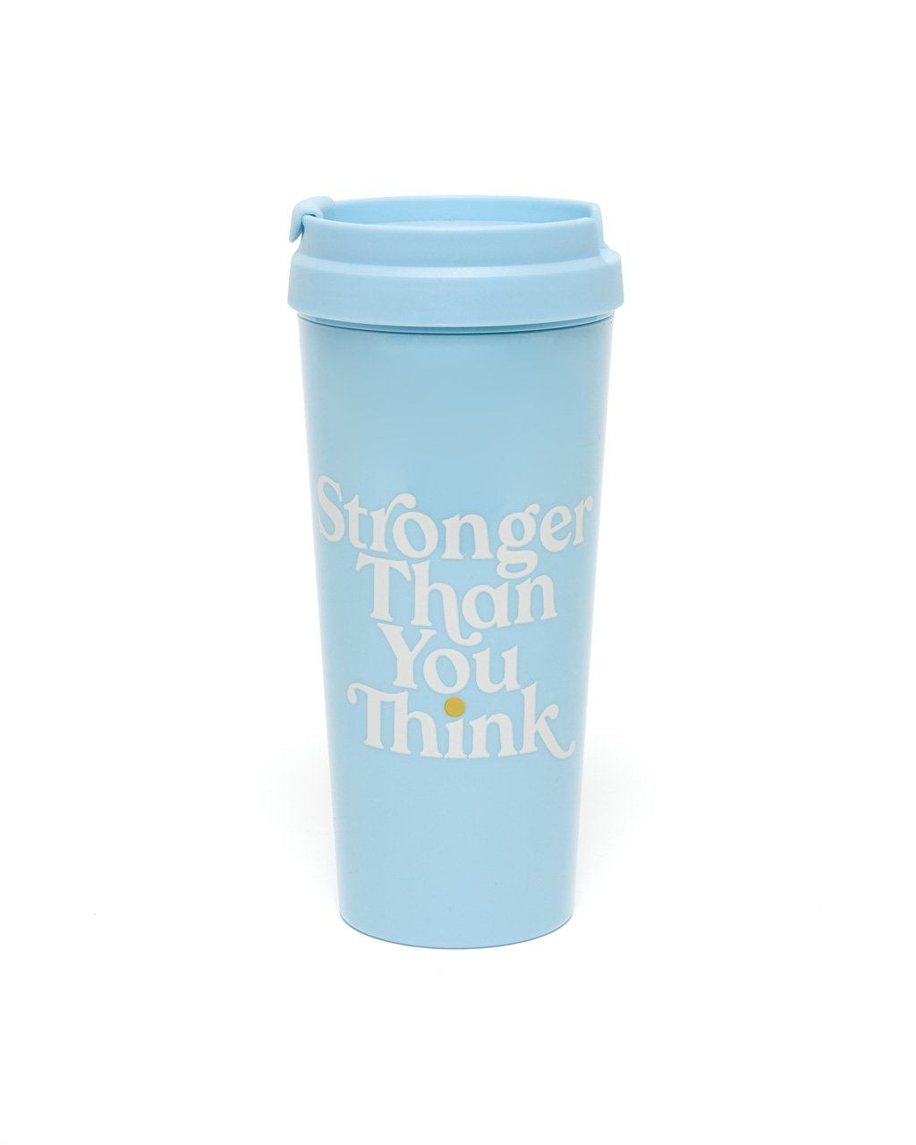 light blue acrylic thermal mug with the words stronger than you think