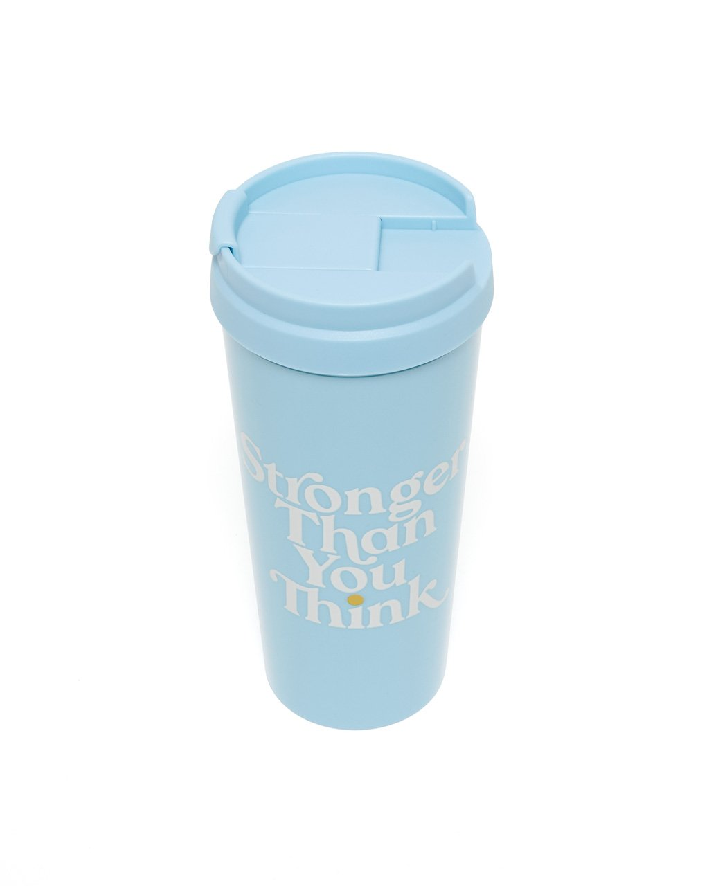 light blue acrylic thermal mug with a light blue spill proof lid