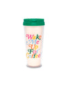 acrylic thermal mug with a cream background and the words wake me up for coffee