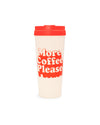 This Hot Stuff Thermal Mug comes in white, with 'More Coffee Please' printed in red on the side.