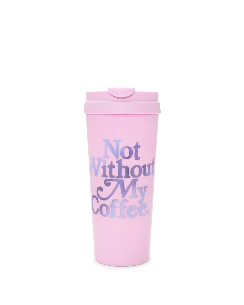 This Hot Stuff Thermal Mug comes in pink, with 'Not Without My Coffee' printed in purple on the side.