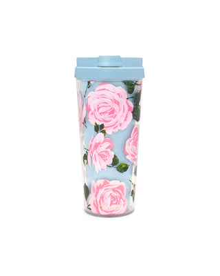 Blue double walled travel mug with pink roses