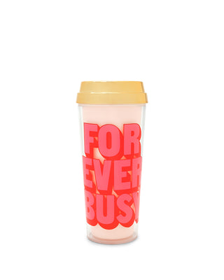 This mug comes in pale pink with a shiny gold lid and 'For Ever Busy' printed in pink on the side.