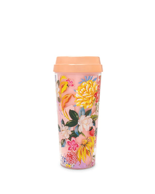 This mug comes in pink with a shiny rose-gold lid and colorful floral pattern printed on the side.