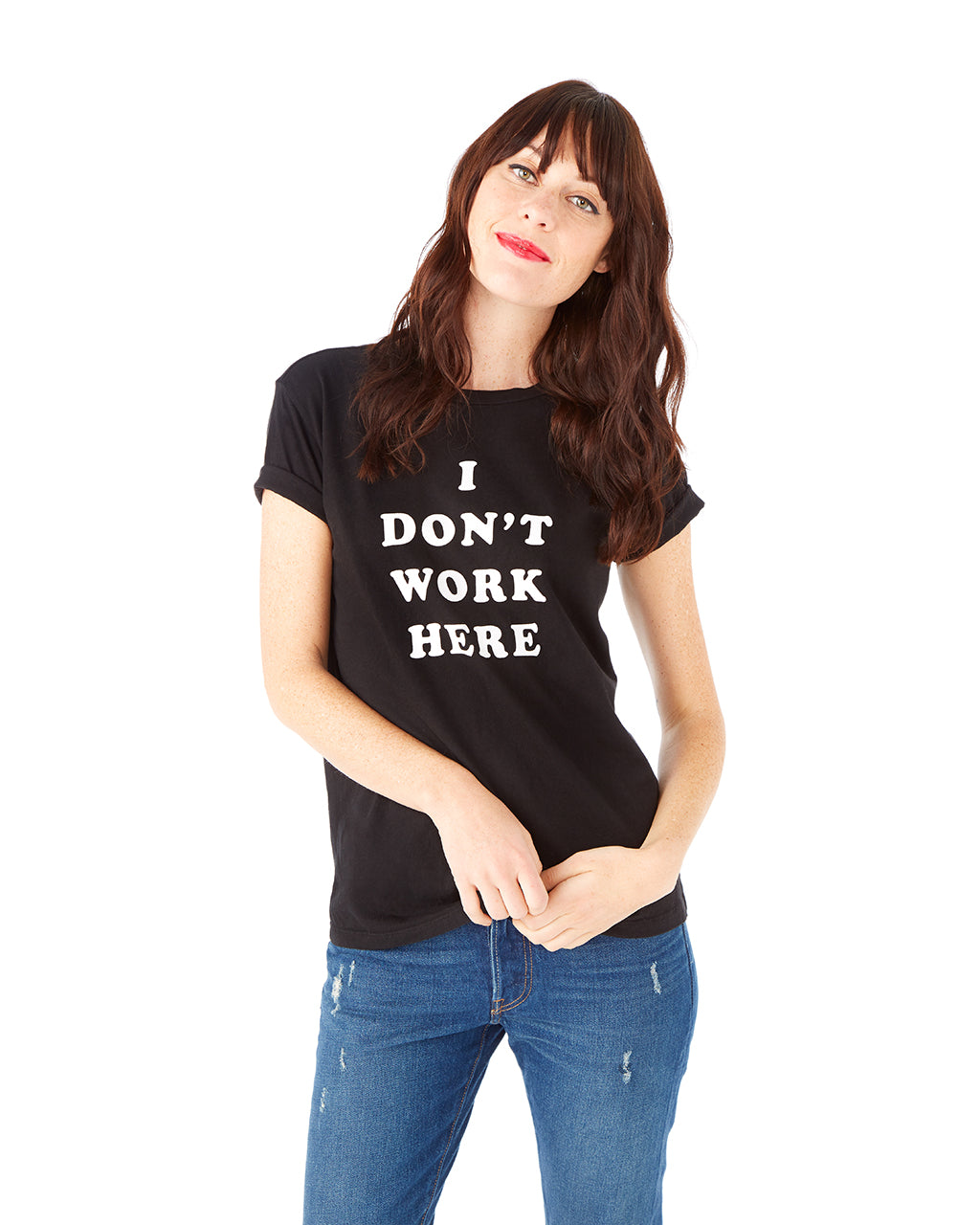 I don't work here tee - black