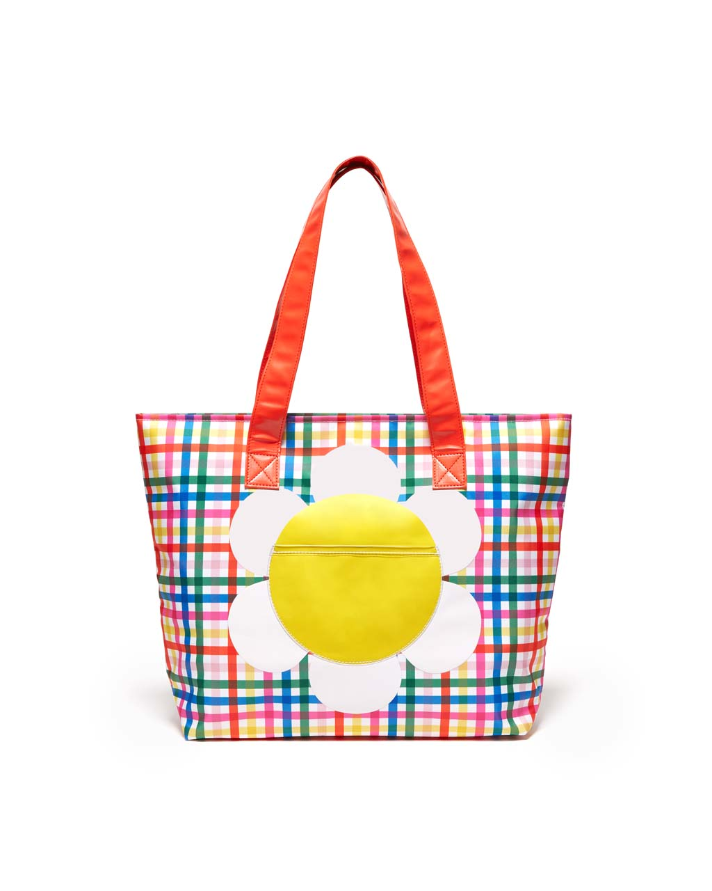 This Just Chill Out Cooler Bag comes in a rainbow plaid pattern, with a big white daisy printed on the front.
