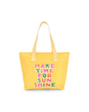 Bright yellow microfiber cooler bag with front artwork