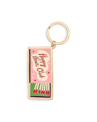 gold keychain with a match box design
