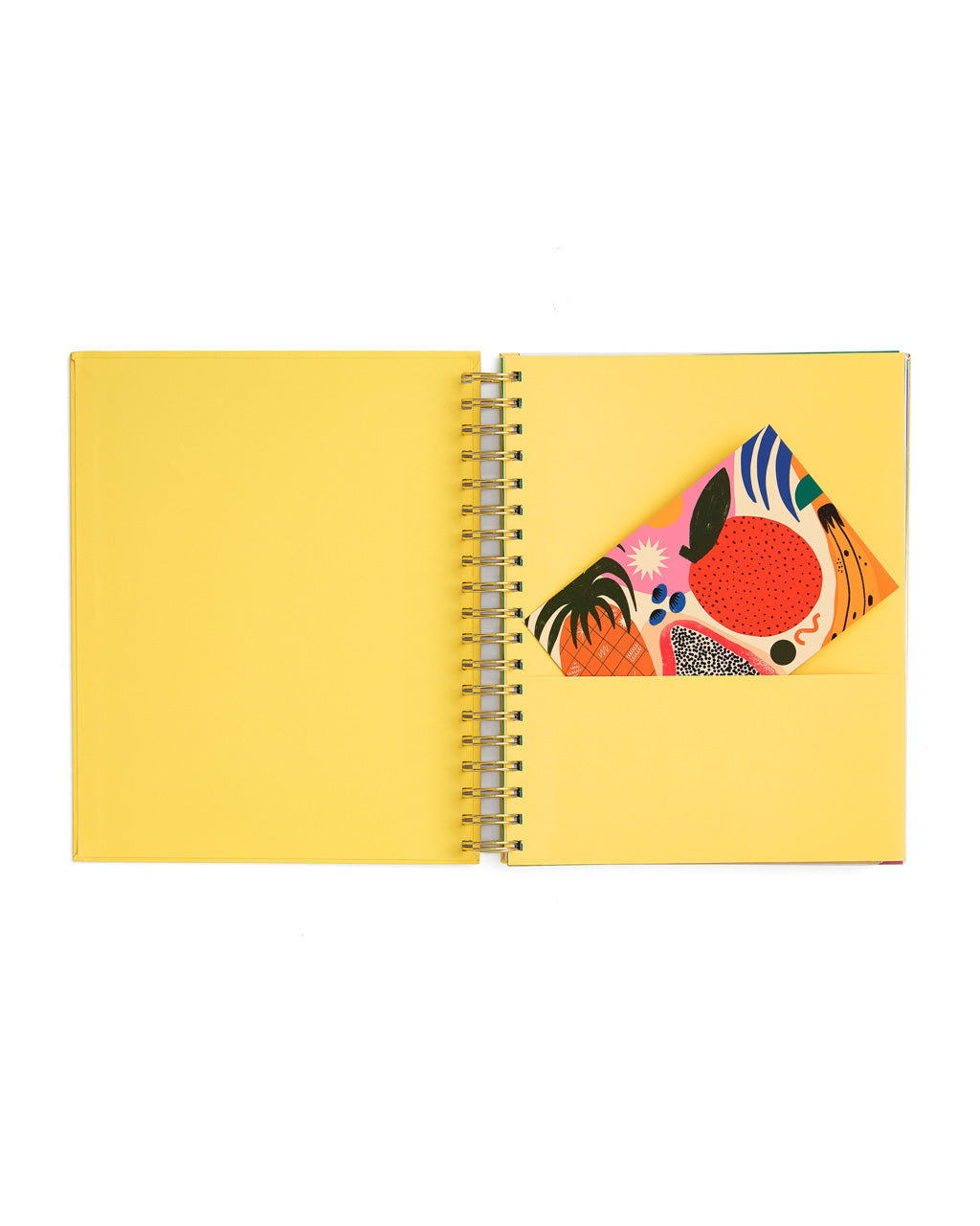 interior shot of yellow planner with yellow end sheets and pocket