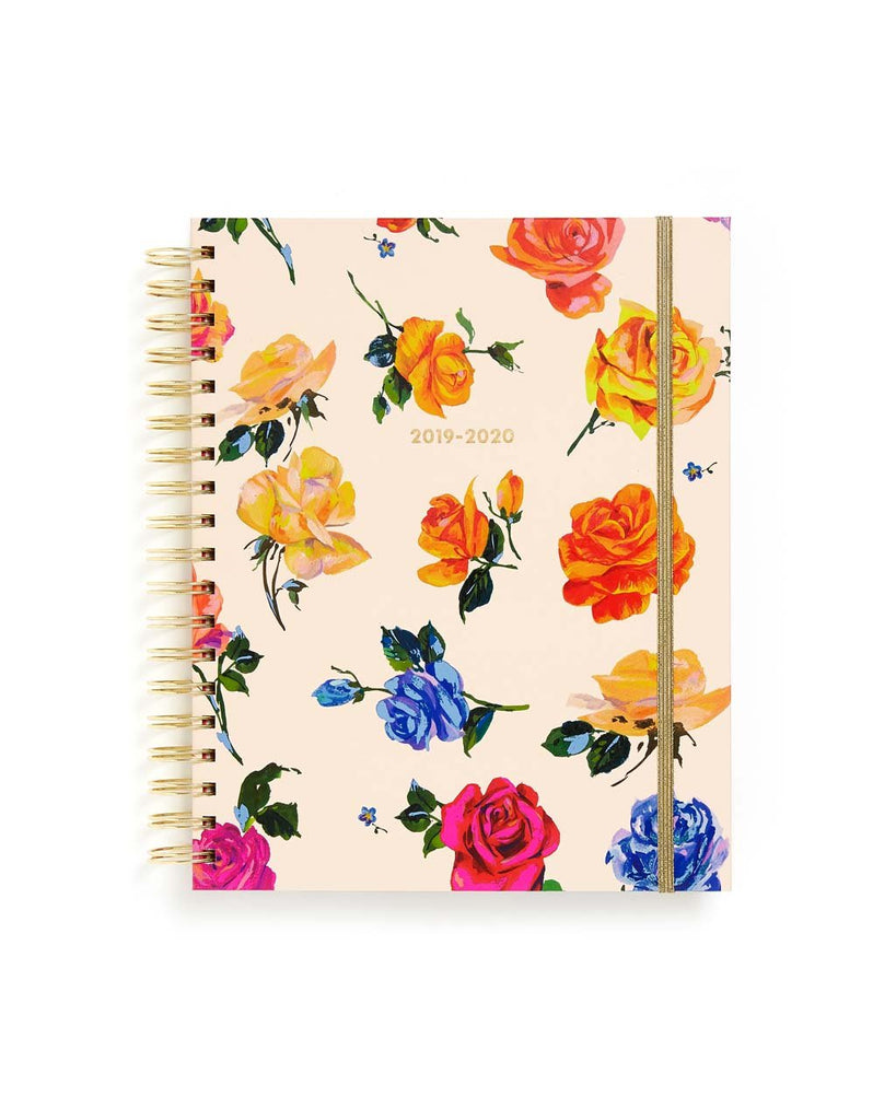 This Large 17-Month Planner comes with a matte-laminated hard cover in a colorful floral design.