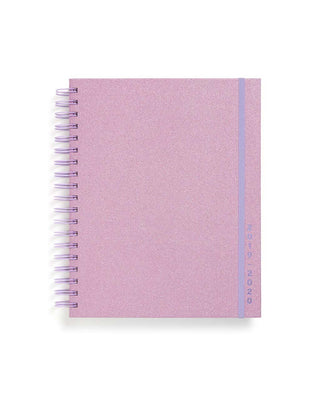 This Large 17-Month Planner comes with a matte-laminated hard cover in a lilac-glittered design.