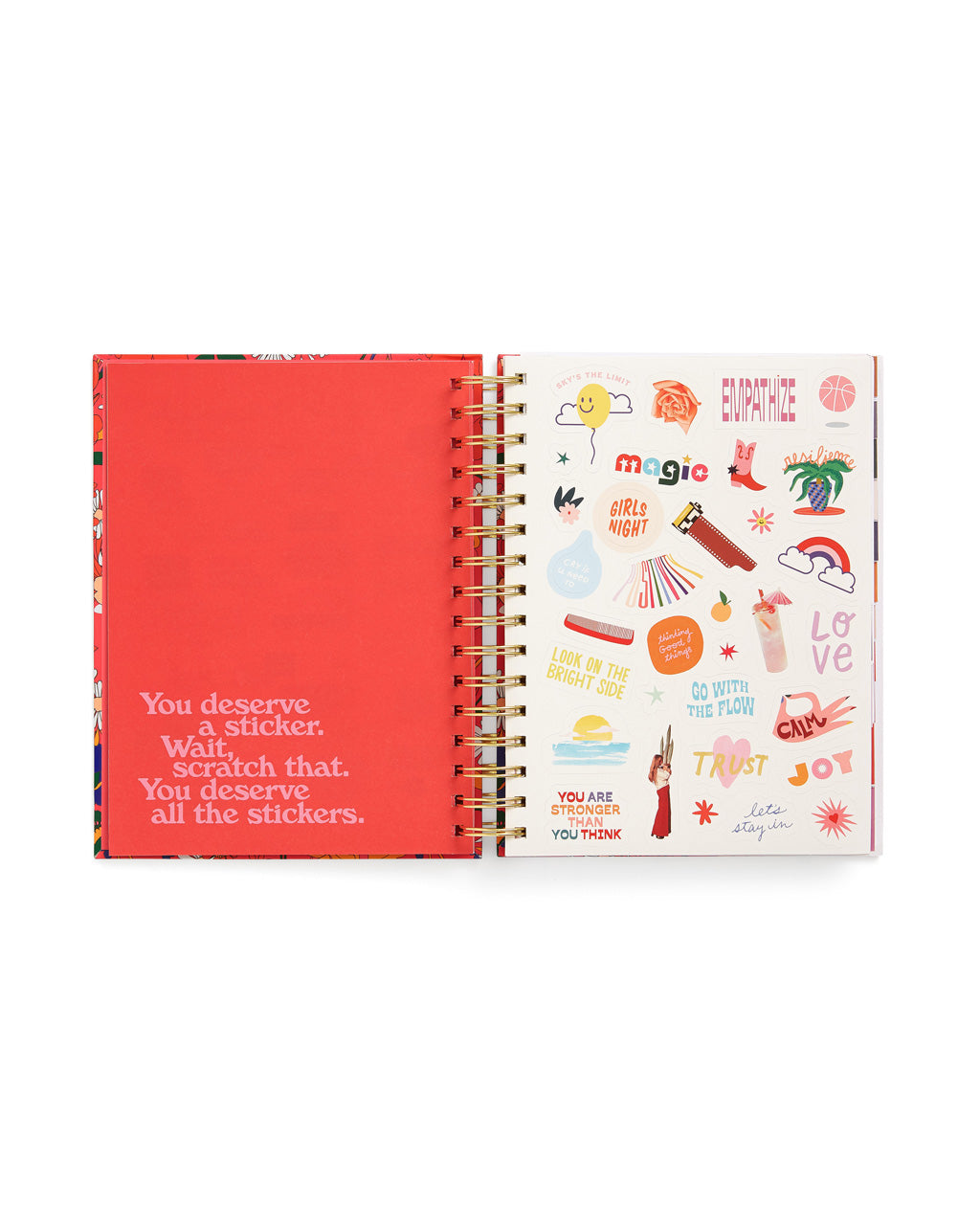 interior image of sticker sheet included within planner