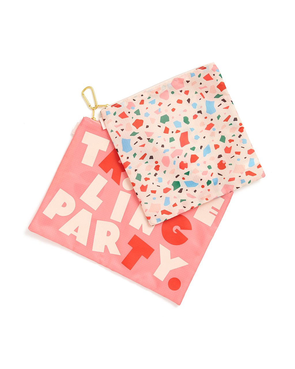 This Large Carryall Duo comes in a pink with 'Traveling Party' printed on the front and rainbow confetti design.