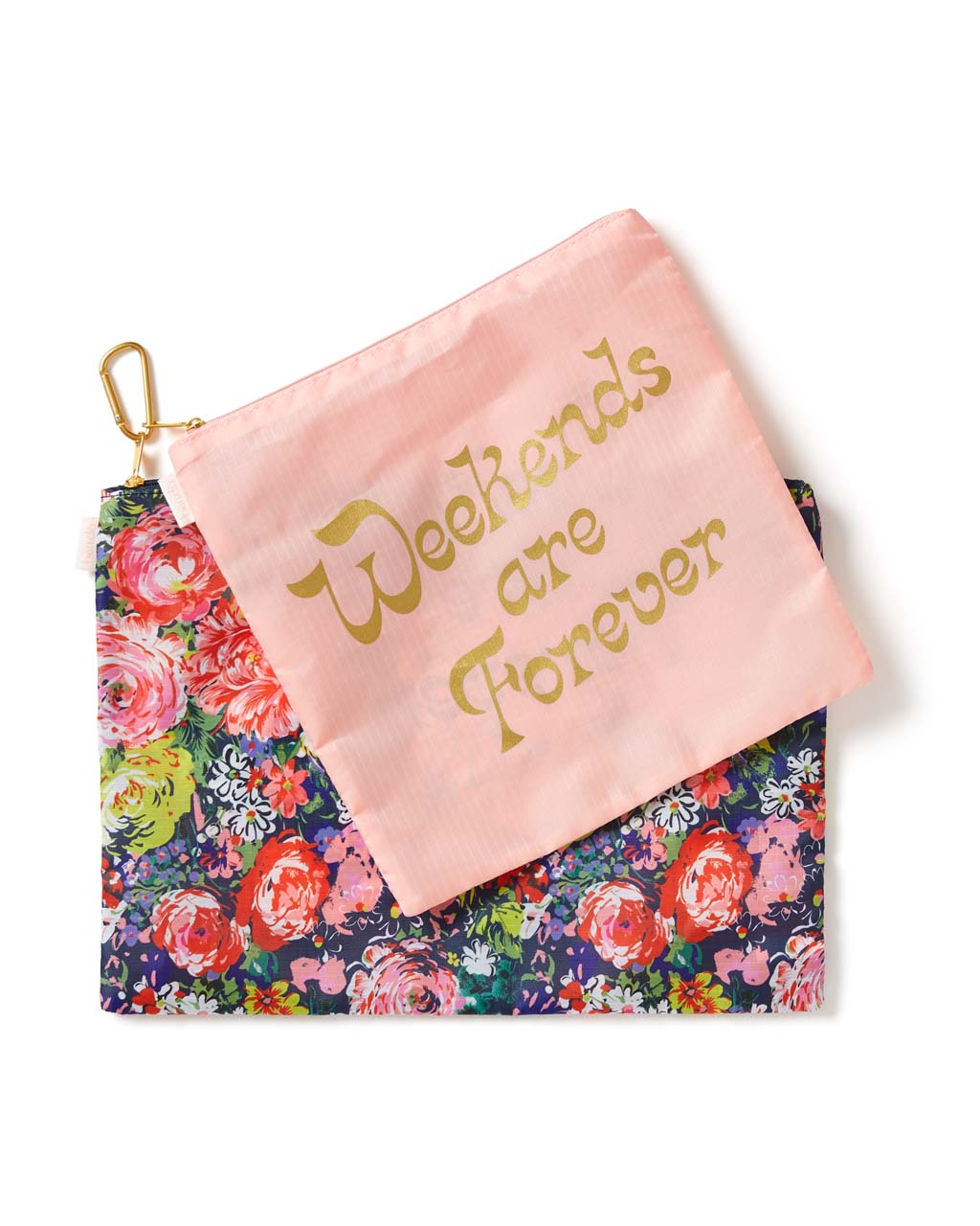 This Large Carryall Duo comes in a pink with 'Weekends Are Forever' printed on the front and colorful floral design.