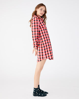 Soft, plaid long sleeve leisure dress.