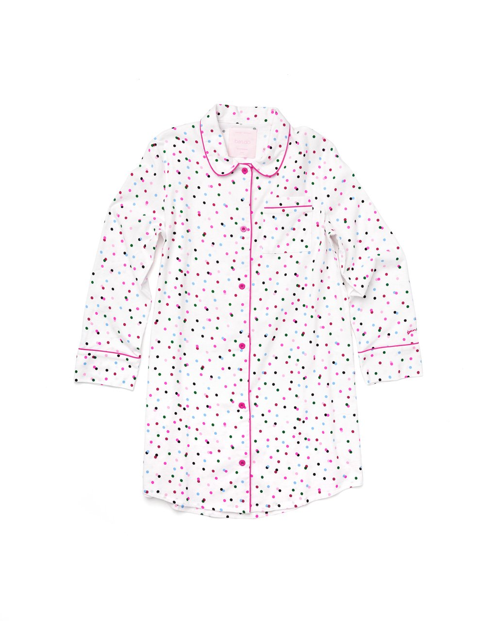 Long sleeve button down pajama shirt with allover multi-color polka dot print.