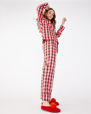 Soft red plaid leisure pants.