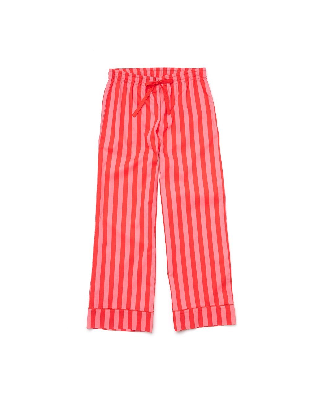 Cotton red and pink vertical stripe leisure pants with a draw string waist