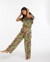 Emerald super bloom pattern featured on our leisure pants