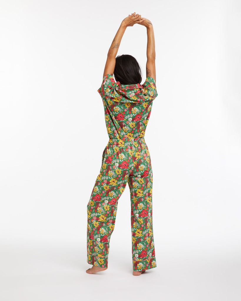 Emerald super bloom leisure pants with a classic relaxed fit