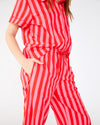 Cotton red and pink vertical stripe leisure pants with side seam pockets