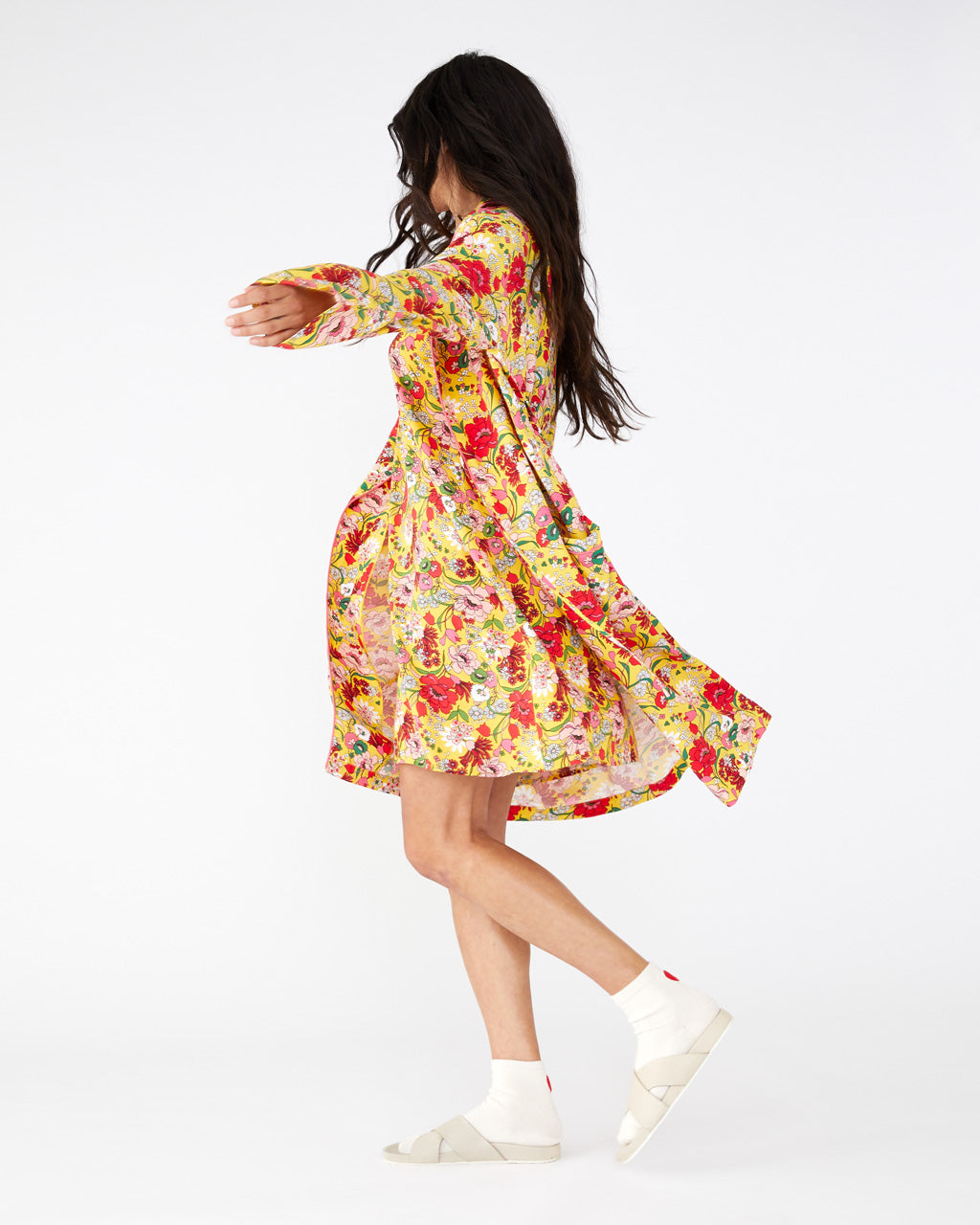 Bright yellow floral knee length robe shown on model