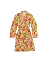 Bright yellow floral knee length robe with a classic fit